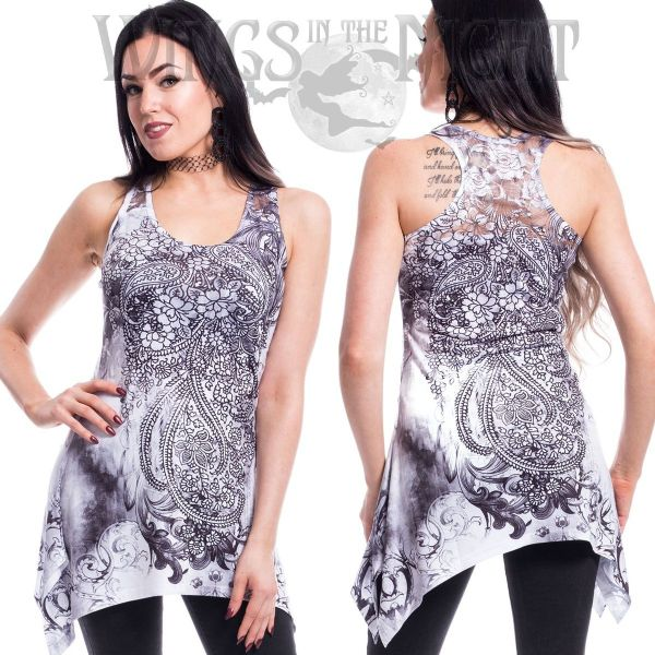 Innocent Clothing Gothic Henna Tribe Lace Panel Long Vest Top
